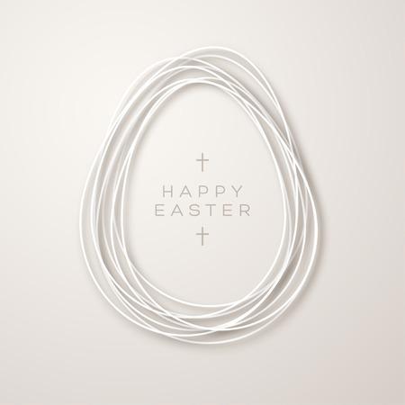 Tarjeta de Pascua con marco de forma de huevo de cinta simple sobre fondo claro. Ilustración vectorial Plantilla de tipografía para su texto con cruces.