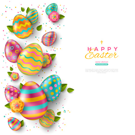 Easter vertical border with colorful ornate eggs, flowers and confetti on white background. Vector illustration. Place for your text. Vectores