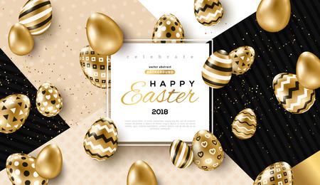 Carte de Pâques avec cadre carré, oeufs ornés d'or et confettis sur fond géométrique moderne coloré. Illustration vectorielle. Place pour votre texte. Vecteurs