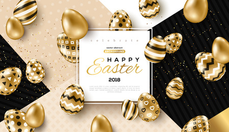 Easter card with square frame, gold ornate eggs and confetti on colorful modern geometric background. Vector illustration. Place for your text. Stock Illustratie