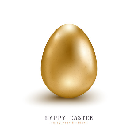 Realistic 3d golden egg isolated on white background. Vector illustration. Happy Easter symbol Illustration