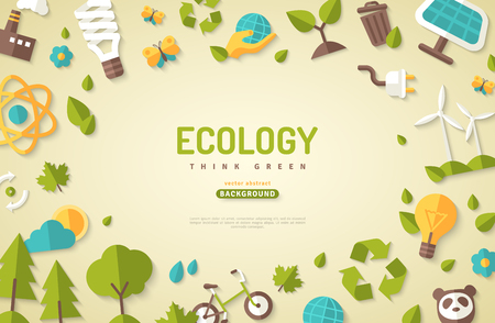 Environmental protection banner with nature elements and other related icons.