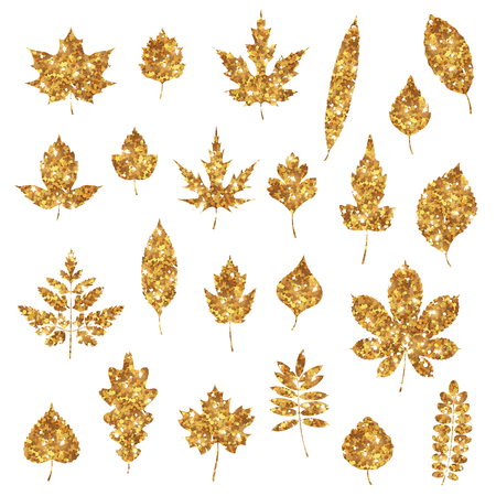 Golden forest leaves icons Ilustracja