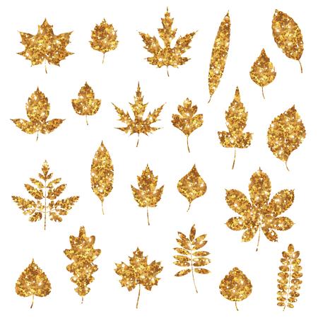 Golden forest leaves icons Illustration