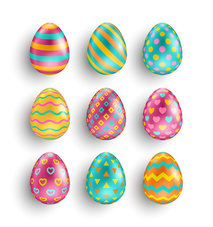 Colorful Easter eggs set with different patterns