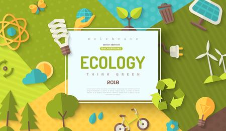 Protección del medio ambiente, concepto de ecología banner horizontal en estilo plano con marco cuadrado en colores de fondo geométrico moderno. Ilustración vectorial para banners web y materiales promocionales.