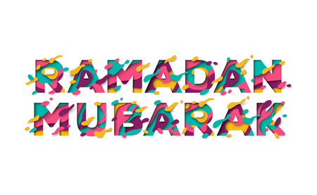 Ramadan Mubarak typographic concept flyer. Vector Illustration. Typography design with abstract paper cut shapes on white background. Colorful 3D carving art.