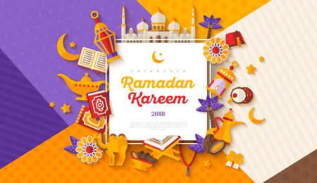 Ramadan Kareem concept horizontal banner with flat sticker icons on modern geometric background. Vector illustration. Eid Mubarak. Quran, Traditional Lanterns, Iftar food dates Vettoriali