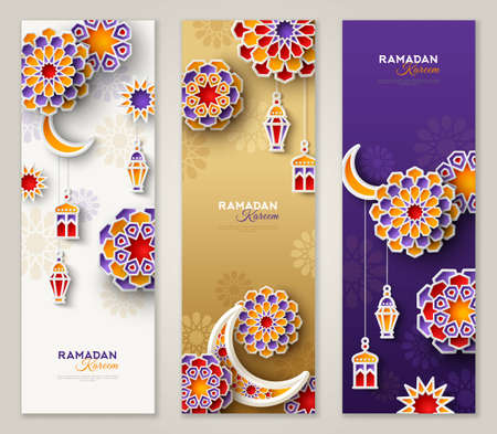 Ramadan Kareem vertical banners with 3d arabesque stars and flowers. Vector Illustration for greeting card, poster and voucher. Islamic crescent moon with hanging traditional lanterns