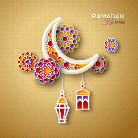 Islamic crescent moon with hanging traditional lanterns on ornamental gold background. Vector illustration.
