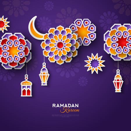 Banner de concepto de Ramadán Kareem con patrones geométricos islámicos. Papel cortado flores, linternas tradicionales, luna y estrellas sobre fondo violeta oscuro. Ilustración vectorial