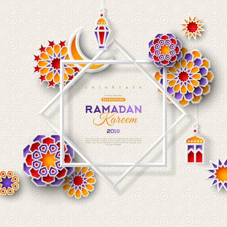 Bannière de concept Ramadan Kareem avec des motifs géométriques islamiques et un cadre à huit étoiles. Papier découpé fleurs 3d, lanternes traditionnelles, lune et étoiles sur fond clair. Illustration vectorielle. Vecteurs
