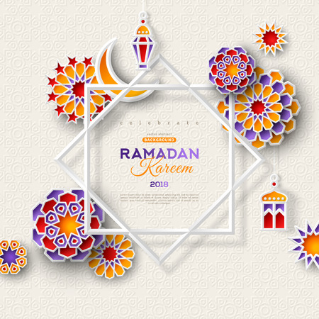Ramadan Kareem concept banner with islamic geometric patterns and eight pointed star frame. Paper cut 3d flowers, traditional lanterns, moon and stars on light background. Vector illustration.