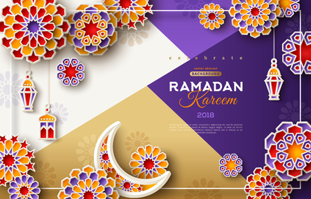 Ramadan Kareem card with 3d arabesque stars and flowers on modern geometric background. Vector illustration. Paper cut Ramadan symbols for poster or flyer. Place for your text Vettoriali