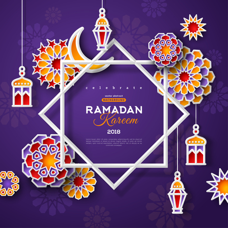Ramadan Kareem concept banner with islamic geometric patterns and star shaped frame on dark violet background. Vector illustration.