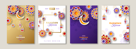 Ramadan Kareem posters set Illustration