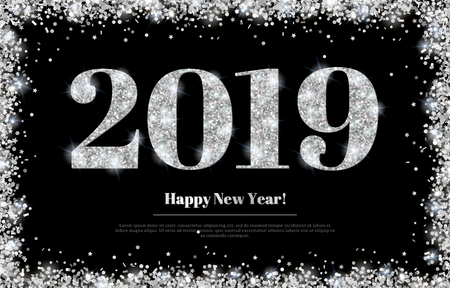 Happy New Year 2019 Greeting Card with Silver Numbers and Confetti Frame on Black Background. Vector Illustration. Merry Christmas Poster Design