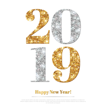 Happy New Year 2019 Greeting Card with Gold and Silver Numbers on White Background. Vector Illustration. Merry Christmas Poster Design