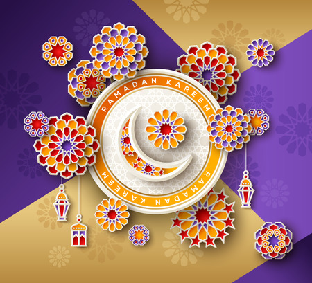 Ramadan Kareem circle fram Illustration