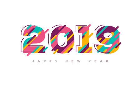 2019 Happy New Year greeting card with abstract colorful numbers for brochure design or business diary cover. Vector illustration.
