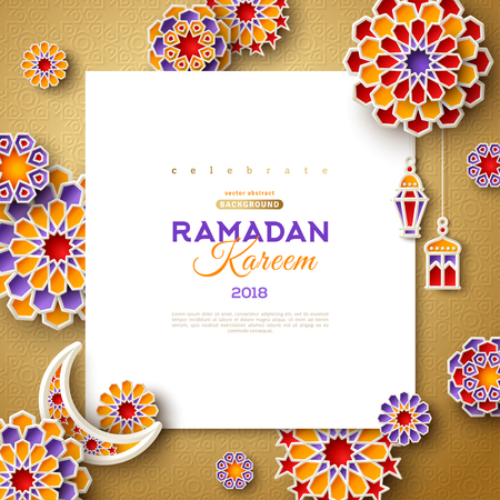 Ramadan Kareem square frame Stock Illustratie