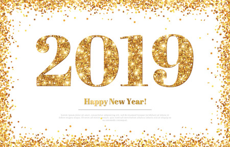 Happy New Year 2019 Greeting Card Vettoriali