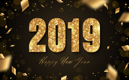 2019 New Year with confetti isolated on a black background