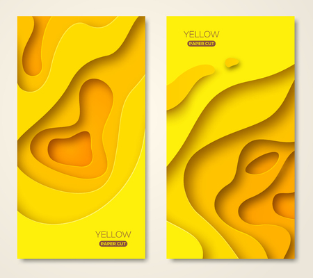 Vertical banners with yellow paper cut Stock Illustratie