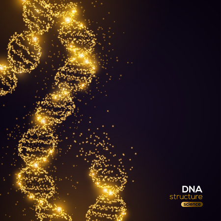 Gold DNA on Black Background Stock Vector - 102959291