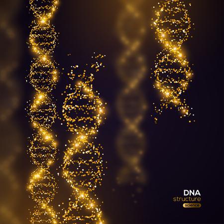 Gold-DNA auf schwarzem Hintergrund Vektorgrafik