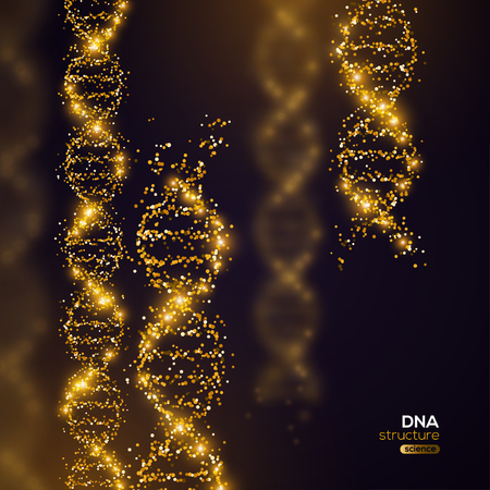 Gold DNA on Black Background Иллюстрация