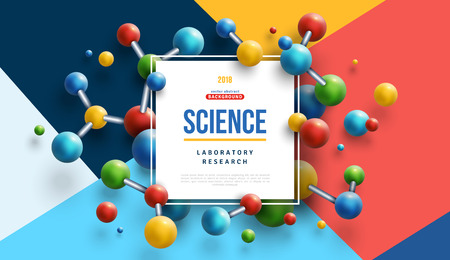Science banner with color molecules Ilustracja