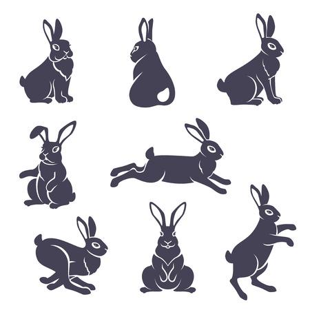 Silhouettes de lapins mignons