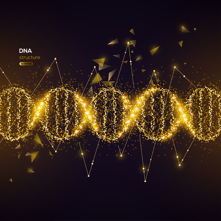 Gold DNA Helix on Black Background with Glittering Particles. Vector illustration. Science and Medical Research Concept Banner with Molecular Structure and Broken Strands Çizim