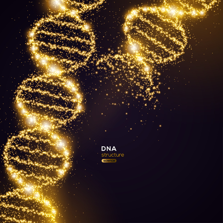 Gold DNA Helix on Black Background with Glittering Particles. Vector illustration. Science and Medical Research Concept Banner with Molecular Structure and Broken Strands Vettoriali