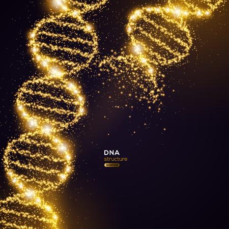 Hélice de ADN de oro sobre fondo negro con partículas brillantes. Ilustración de vector. Banner de concepto de investigación científica y médica con estructura molecular y hebras rotas Ilustración de vector