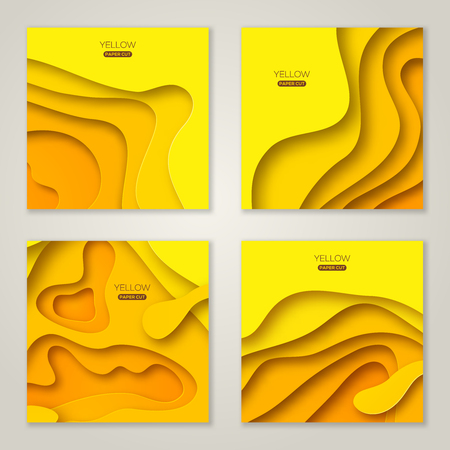 Set of square banners templates with yellow paper cut shapes. Bright summer modern abstract design. Vector Illustration. Standard-Bild - 102959301