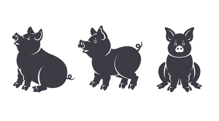 Set of black pigs silhouettes in various poses isolated on white background. Piglet characters sitting and standing for 2019 Chinese New Year. Vector illustration.