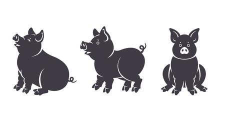 Set di sagome di suini neri in varie pose isolati su sfondo bianco. Personaggi dei maialini seduti e in piedi per il capodanno cinese 2019. Illustrazione vettoriale.