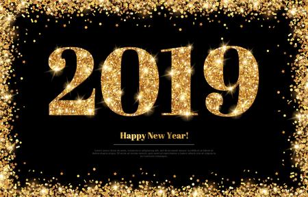 Cartolina d'auguri di nuovo anno 2019 Vettoriali