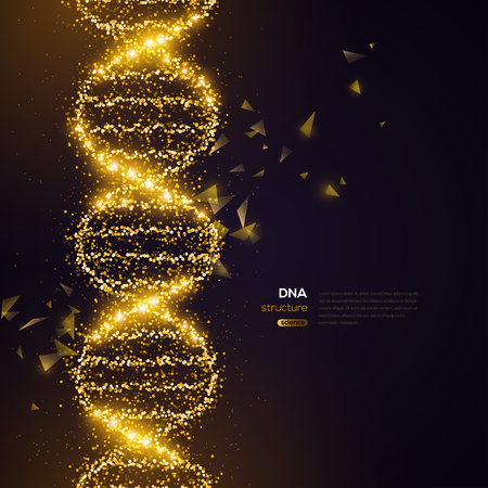 Gold DNA on Black Background 일러스트