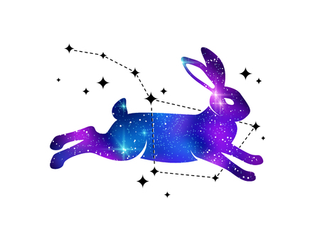 Rabbit and constellation of Ursa Illustration