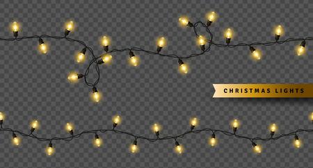Luces de Navidad amarillas aisladas