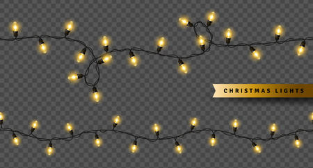 Yellow christmas lights isolated