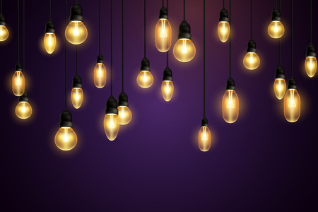 Retro bulbs hanging on violet background