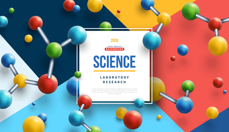 Science banner with color molecules Illustration