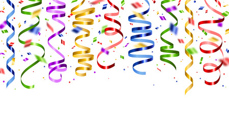 Shiny colorful serpentine and confetti Stock Illustratie