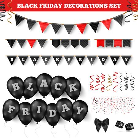 Black friday decorations set Çizim