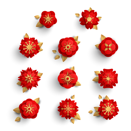 Red paper cut flowers Vectores