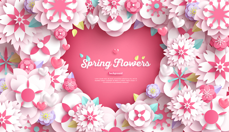 Banner with heart frame and white paper cut flowers for Mother's or Valentine's day design. Vector illustration. Illustration